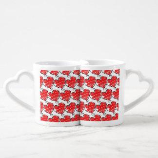Coeurs réglés d'amour de tasse de café