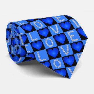 Coeurs rougeoyants Checkered de diamants d'AMOUR, Cravate