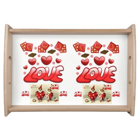 Coeurs rouges blancs de jour de Valentines servant Plateaux De Service