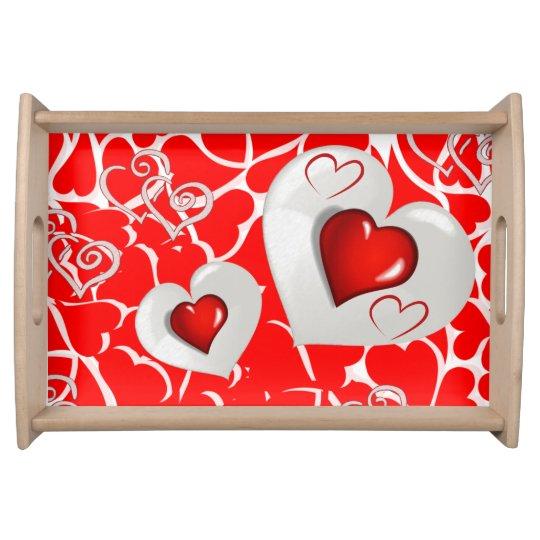 Coeurs rouges blancs de jour de Valentines servant Plateaux Repas