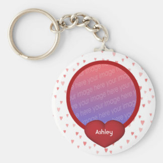 Coeurs rouges votre porte - clé de photo porte-clé rond