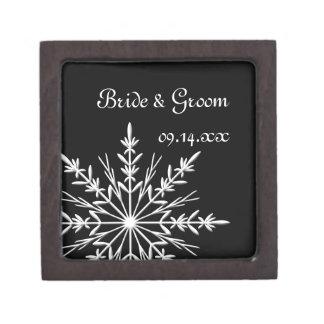 Coffret A Bijoux Mariage noir et blanc d'hiver de flocon de neige