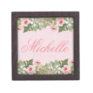Coffret A Bijoux Souvenir ou boîte-cadeau nommé floral élégant avec