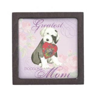 Coffret A Bijoux Vieille maman anglaise de coeur de chien de berger