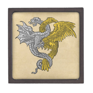 Coffret Cadeau De Première Qualité Eagle d'or et dragon argenté