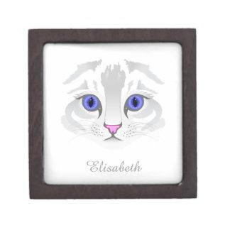 Coffrets Cadeaux De Première Qualité Fin blanche mignonne de visage de chat tigré vers