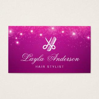 Coiffeur - salon de beauté de scintillement rose cartes de visite