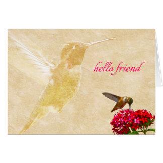 Colibri, bonjour ami - carte de note