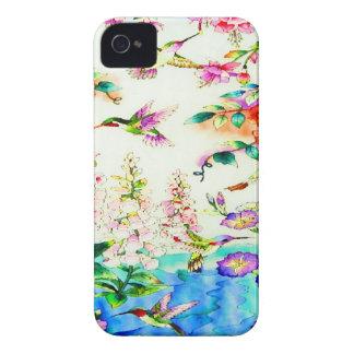 Colibri-Rose-Fleurs Coque Case-Mate iPhone 4