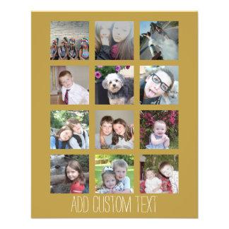 Collage de 12 photos avec l'arrière - plan d'or prospectus 11,4 cm x 14,2 cm