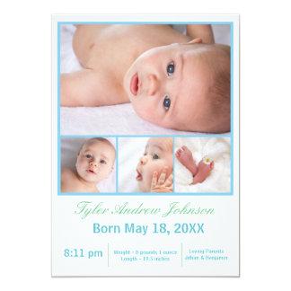 Collage de 4 photos blanc/bleu - faire-part de