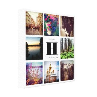 Collage de huit photos avec l'art de famille de toiles