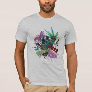 Collage de néon de croisé de Batman Caped T-shirt