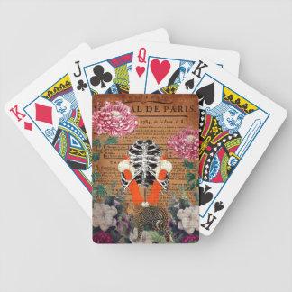 Collage floral de cage thoracique vintage de femme jeux de cartes