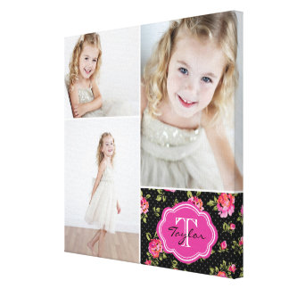 Collage Girly de photo de monogramme floral Toiles