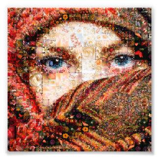 Collage-oeil-fille bédouine de fille-oeil de impression photo