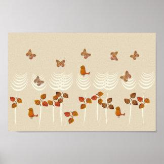 Collage tropical abstrait de crème d'or de jardin poster