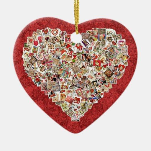 collage vintage de coeur de carte de valentine sur ornement c ur en c ramique zazzle. Black Bedroom Furniture Sets. Home Design Ideas
