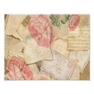 Collage vintage, lettres françaises et cartes post photographes