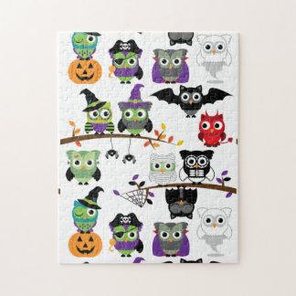Collectie van de Griezelige Uilen van Halloween Legpuzzel