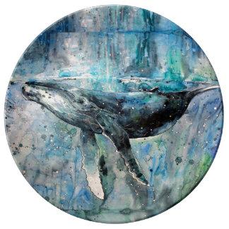 Collection de baleine bleue assiette en porcelaine