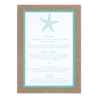 Collection de mariage de plage de toile de jute carton d'invitation  11,43 cm x 15,87 cm