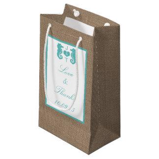 Collection de mariage de plage de toile de jute petit sac cadeau