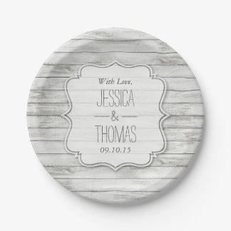 Collection en bois blanchie nautique de mariage de assiettes en papier