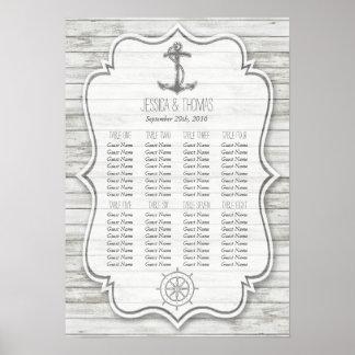 Collection en bois blanchie nautique de mariage de poster