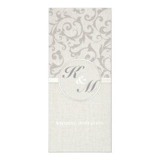 Collection grise de mariage de SmartElegance Carton D'invitation 10,16 Cm X 23,49 Cm