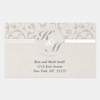 Collection grise de mariage de SmartElegance Sticker Rectangulaire