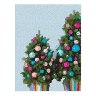 Collection mignonne superbe rose d'arbres de Noël Carte Postale