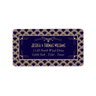 Collection vintage de mariage de Gatsby d'art déco Étiquette D'adresse
