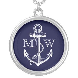 Collier Ancre, monogramme nautique