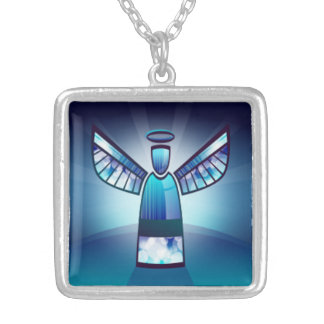 Collier Ange en verre souillé de bleu