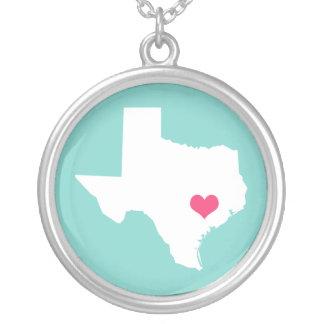 Collier Aqua et État d'origine rose du Texas de coeur