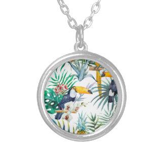 Collier Aquarelle tropicale d'oiseau de perroquet d'ananas