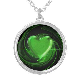 Collier Arrière - plan vert de spirale de coeur
