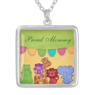 Collier Baby shower doux de safari d'animaux de jungle de