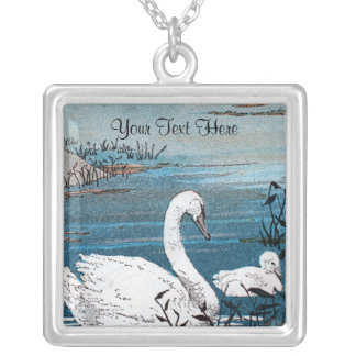 Collier Beau cygne blanc de mère dans le lac avec le cygne