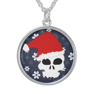 Collier bleu de Noël de rétro crâne de sucre