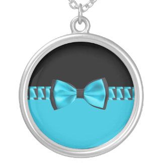 Collier Bleu de turquoise et cravate et ruban d'arc chics