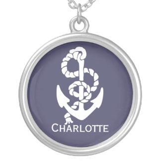 Collier Bleu nautique et le blanc embarque l'ancre et la