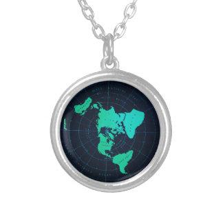Collier Carte plate de la terre (projection équidistante