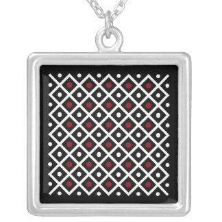 Collier Cercle rouge de la géométrie et motif blanc de