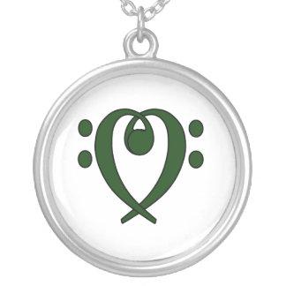 Collier Coeur de clef basse vert-foncé