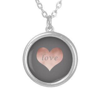 Collier coeur rose des textes d'amour d'or de faux clair