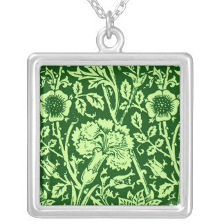 Collier Damassé d'oeillet de Nouveau d'art, Forest Green