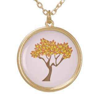 Collier d'arbre d'automne de finition d'or