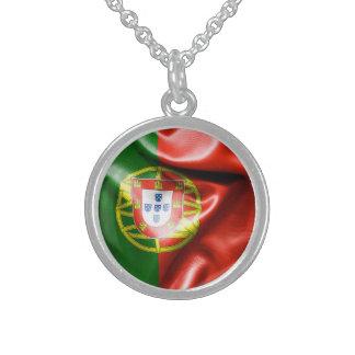 Collier d'argent sterling de drapeau du Portugal